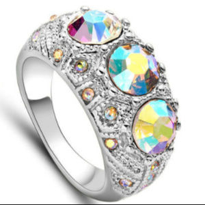 Jewelry - Mystic Topaz Ring 8 Silver AB Crystal 10KT Gold GF